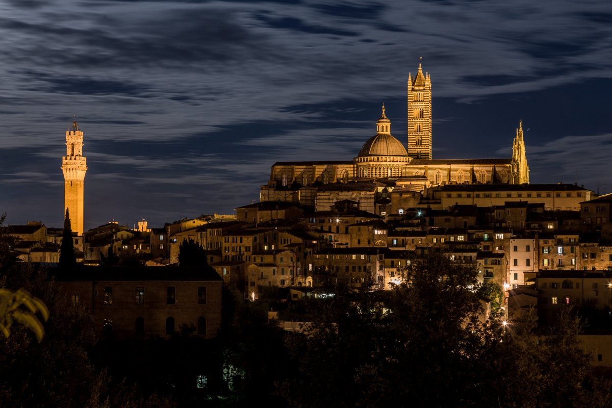 Siena in Tuscany in the evening