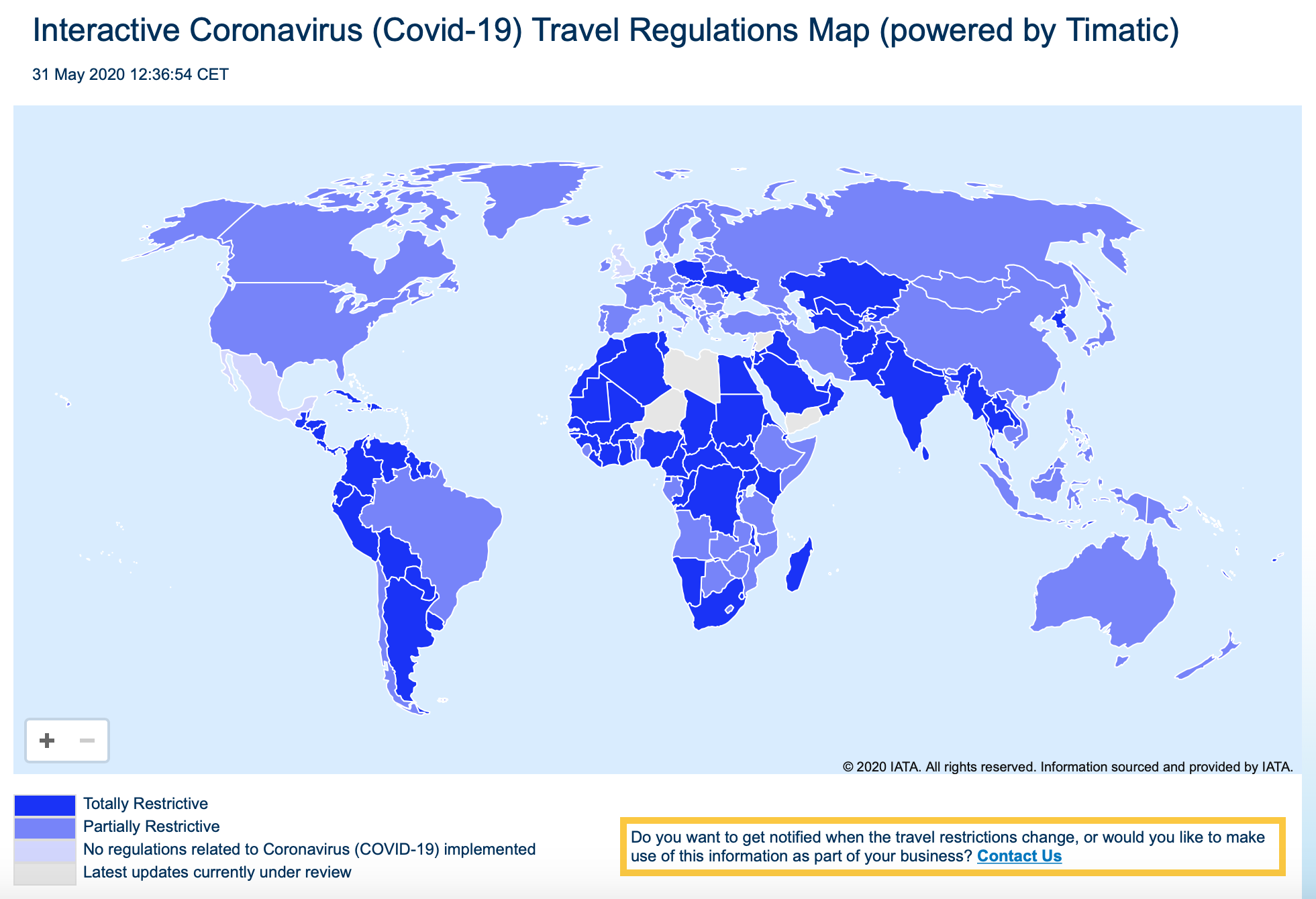 Photo – Map with the travel restrictions in every country of the world